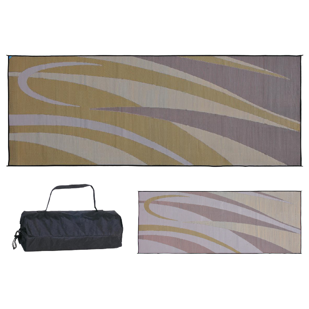 PATIO MAT,8x20 BRN/GOLD